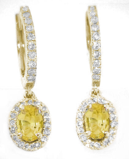 1.71 ctw Oval Yellow Sapphire and Diamond Earrings in 14k yellow gold