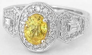 1.81 ctw Yellow Sapphire and Diamond Ring with Carved Band in 14k white gold