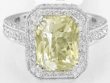 5.51 ctw Radiant Cut Yellow Sapphire and Diamond Ring