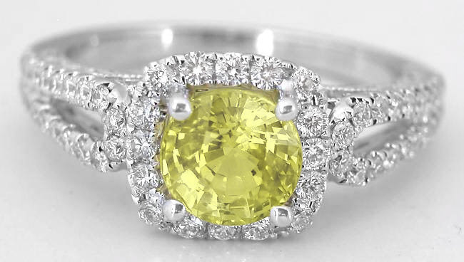 1.80 ctw Round Yellow Sapphire and Diamond Ring in 18k white gold