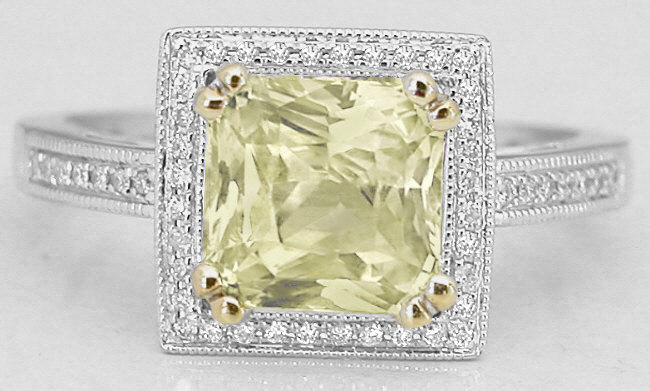 2.30 ctw Unheated Yellow Sapphire and Diamond Ring in 14k w/y gold