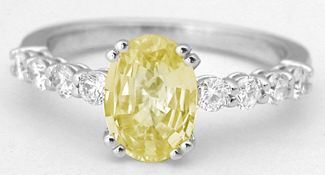 1.84 ctw Oval Yellow Sapphire and Diamond Ring in 14k white gold