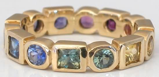 Princess and Round Rainbow Sapphire Eternity Bands