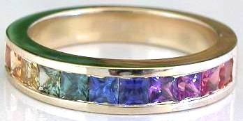 Channel Set Rainbow Sapphire Ring