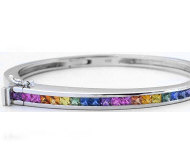 Princess Cut Rainbow Sapphire Bangle