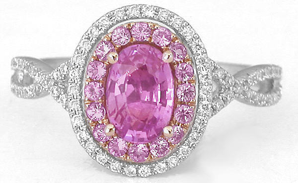 Real Natural Pink Sapphire Ring in White Gold