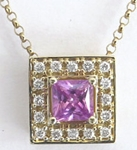 0.63 ctw Princess Cut Pink Sapphire and Diamond Pendant in 14k yellow gold