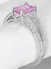 Fine Emerald Cut Pink Sapphire and Diamond Ring in 14k white gold
