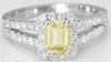Emerald natural Yellow Sapphire Ring with a real diamond halo and white gold split shank for sale