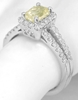 Split Shank Emerald Cut Yellow Sapphire and Diamond Ring in 14k white gold