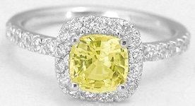 Cushion Yellow Sapphire and Diamond Ring in 14k white gold