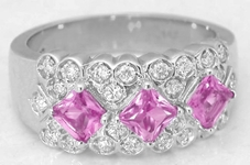 1.33 ctw Princess Cut Pink Sapphire and Diamond Band in 14k white gold