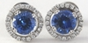 Natural Blue Sapphire Earrings with Diamond Halo