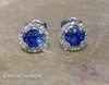 5mm Cornflower Blue Sapphire Earrings with Diamond Halo in white gold