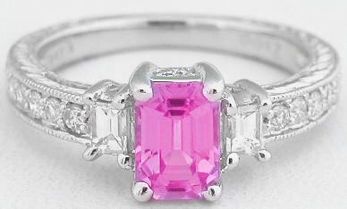 1.50 ctw Emerald Cut Pink Sapphire and Diamond Ring in 14k white gold