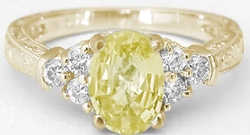 Antique Style Yellow Sapphire Ring with Carved Band in 14k yellow gold