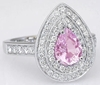 Light Pink Sapphire and Diamond Engagement Ring in 14k white gold