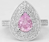 1.85 ctw Light Pink Sapphire and Diamond Engagement Ring in 14k white gold