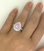 14k white gold Light Pink Sapphire Ring with Double Diamond Halo