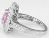 Double Halo Light Pink Sapphire and Diamond Engagement Ring in 14k white gold