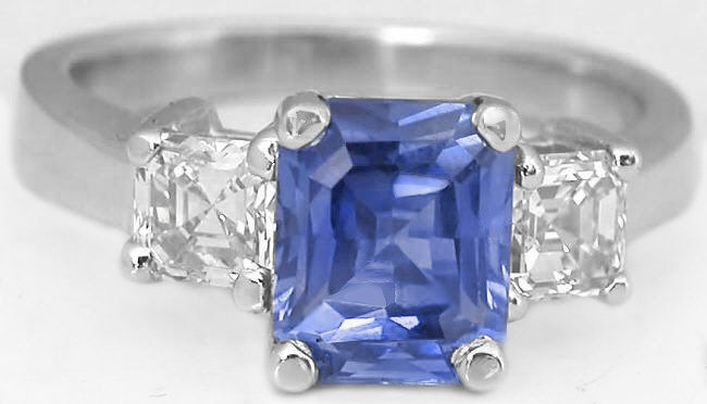 large cut listing ring asscher peach padparadscha light il blue sapphire