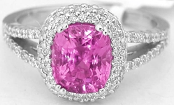 Real Hot Pink Sapphire and Diamond Split Shank Engagment Ring in 18k White Gold for sale