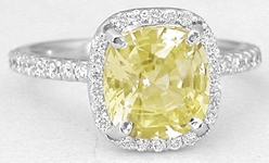 3.53 ctw Unheated Ceylon Yellow Sapphire and Diamond Ring in 14k white gold