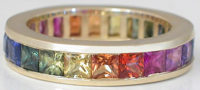 4.0 ctw Channel Set Princess Cut Rainbow Sapphire Eternity Band Ring in 14k gold Rainbow Sapphire Eternity Bands, Princess Cut Rainbow Sapphire Eternity Rings, Rainbow Sapphire Rings, Princess Cut Sapphire Rings Rainbow, Sapphire Wedding Rings