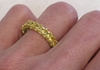 4.3 ctw Princess Cut Yellow Sapphire Eternity Band Ring on hand