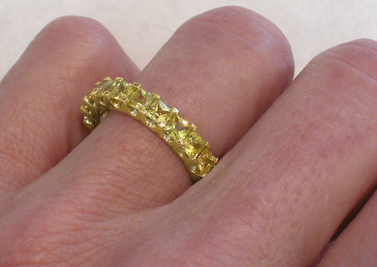 4 3 Ctw Princess Cut Yellow Shire Eternity Band Ring On Hand