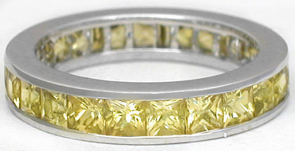 Channel Set Princess Cut Yellow Sapphire Eternity Ring in 14k white gold