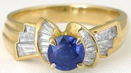Designer Damiani Round Natural Blue Sapphire and Real Baguette Diamond Ring in 18k yellow for salegold