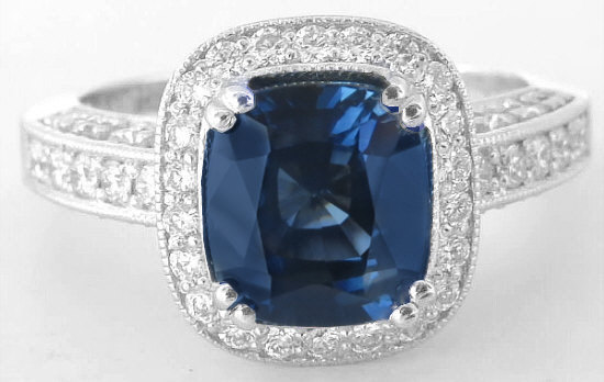 Genuine Blue Sapphire Ring with Diamond Halo- Cushion Cut in 18k White Gold