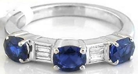 East West Set Natural Blue Sapphire and Real Diamond Anniversary Band Ring in solid 18k white gold for salefor sale