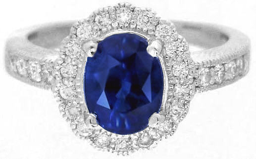 Diamond Halo and Blue Sapphire Ring