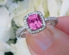 Cushion Cut Bright Pink Natural Sapphire Wedding Ring with Real Diamond Halo in 14k white gold