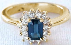 Kate Middleton Inspired Natural Sapphire Engagement Ring with Real Diamond Halo in solid 14k yellow gold for sale