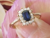 Princess Dianna Inspired Natural Sapphire Engagement Ring with Real Diamond Halo in solid 14k yellow gold for sale