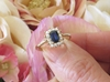 Kate Middleton Inspired Natural Sapphire Engagement Ring with Real Diamond Halo in solid 14k yellow gold setting
