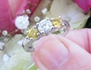 Real Round Diamond Engagement Ring with Natural Round Yellow Sapphires in 14k white gold for sale