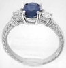 Engraved Blue and White Sapphire Ring