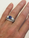 2 18 ctw Blue and White Sapphire Ring and Band in 18k white gold