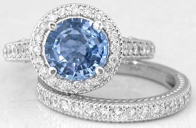 Antique Style Diamond Rings Large Round Shire And Engagment Ring Set In 14k White Gold