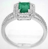 Emerald Ring - Emerald Cut Emerald with Double Diamond Halo in white gold