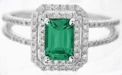 Natural Emerald Ring - Double Diamond Halo in white gold