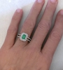 Natural Emerald Ring - Double Diamond Halo in white gold on the hand