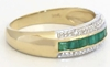 Channel Set Real Emerald Stackable Ring in solid 14k yellow gold for sale