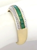 Women's natural emerald band ring with channel set emeralds in solid 14k yellow gold
