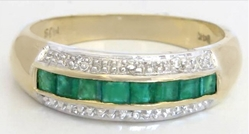 Channel Set Natural Emerald Stackable Band Ring in solid 14k yellow gold for sale