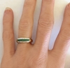 Genuine emerald ring with channel set square cut emeralds in solid 14k yellow gold